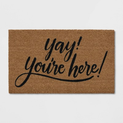"1'6""X2'6"" Yay You're Here Coir Doormat Black/Beige - Threshold™"
