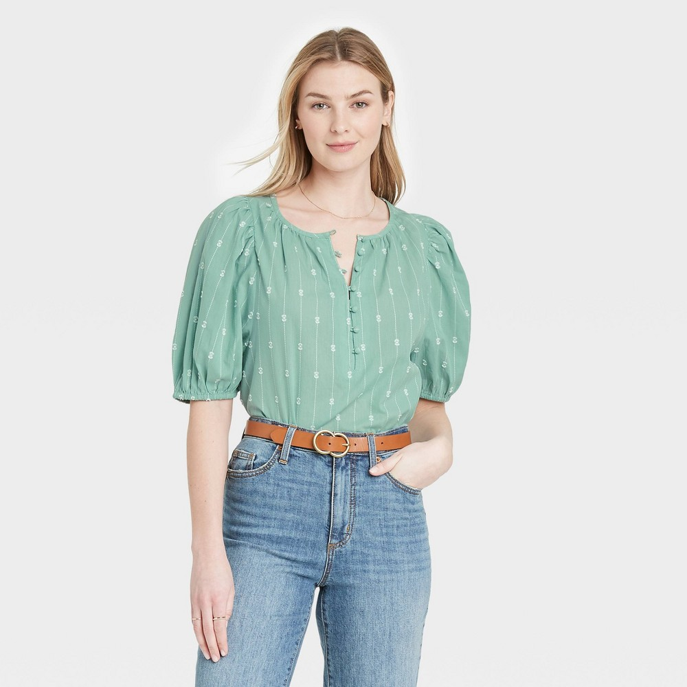 Women 39 S Puff Elbow Sleeve Button Down Blouse Universal Thread 8482 Green L