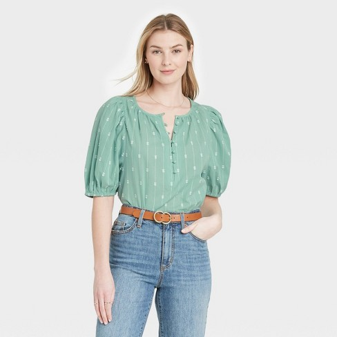 Women's Puff Elbow Sleeve Button-Down Blouse - Universal Thread™ - image 1 of 3