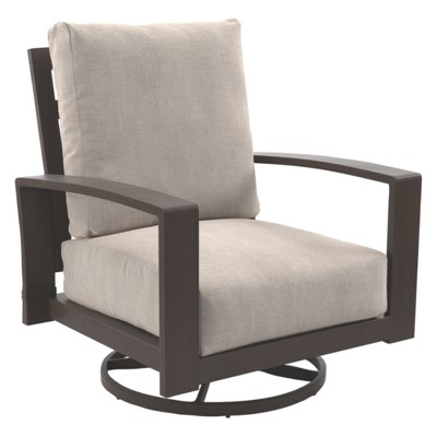 Superieur Cordova Reef Swivel Lounge Chair With Cushions   Dark Brown   Outdoor By  Ashley