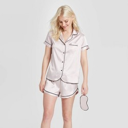 Women's 3 Piece Satin Notch Collar Pajama Set - Stars Above™
