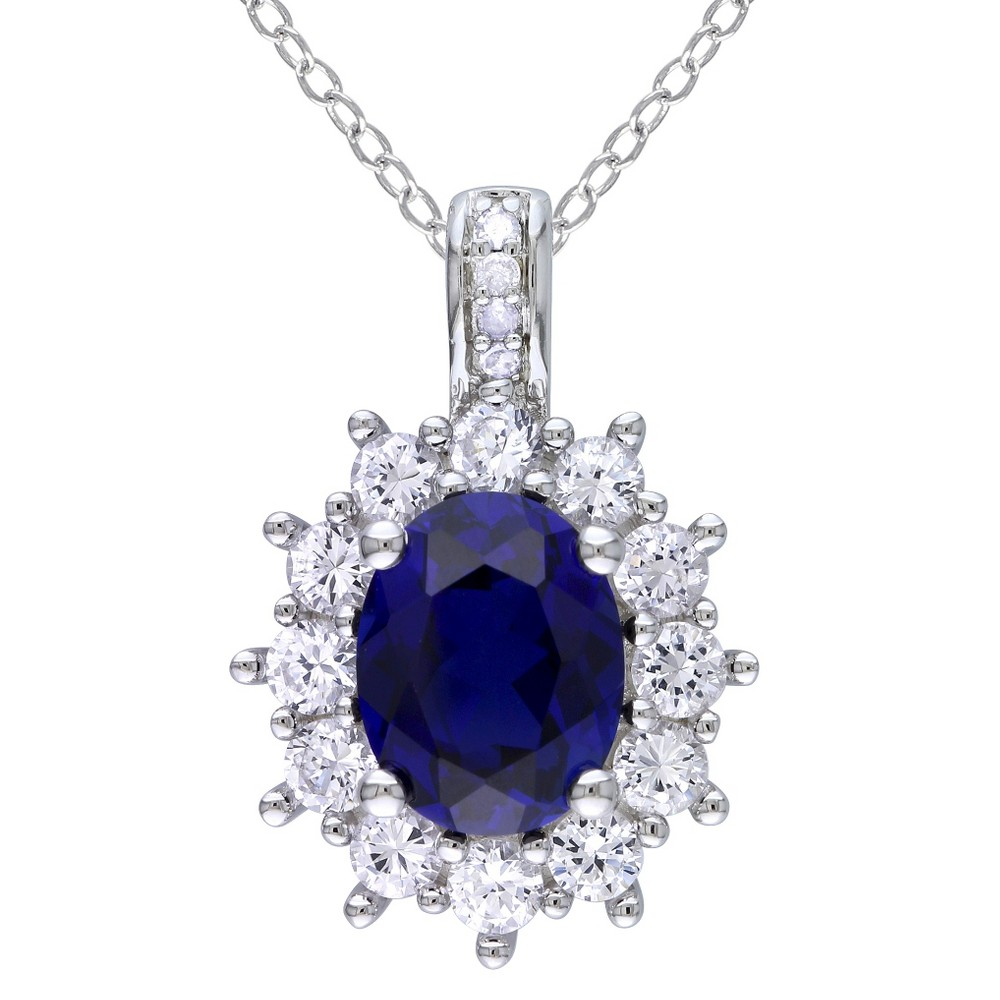 Image of 0.02 CT. T.W. Diamond And Sapphire Silver Pendant Necklace - White, Women's