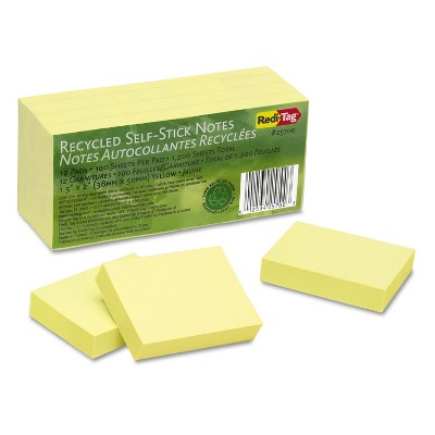 Redi-Tag 100% Recycled Notes 1 1/2 x 2 Yellow 12 100-Sheet Pads/Pack 25700