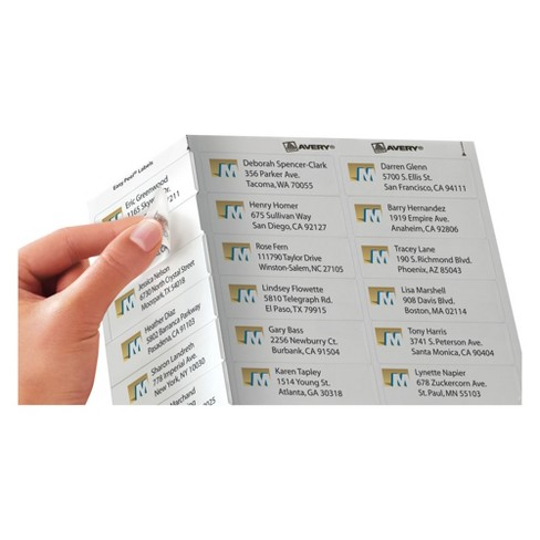 avery 08660 clear easy peel mailing labels 1 x 2 5 8 750pk target