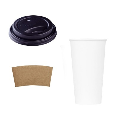 Karat Hot Drink Sipper Polypropylene Plastic Dome Lid with 20 Ounce Poly Lined Paper Cups and Paper Jacket Sleeves