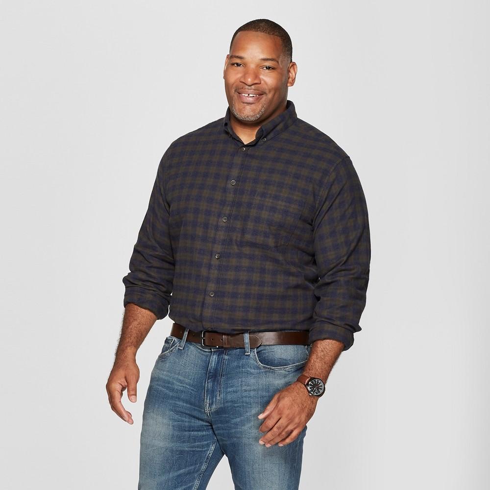 Men's Big & Tall Plaid Standard Fit Pocket Flannel Long Sleeve Collared Button-Down Shirt - Goodfellow & Co Moss Green 5XBT