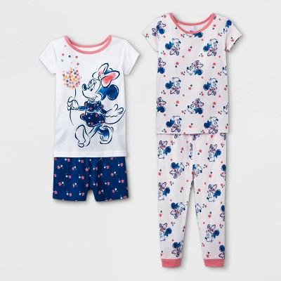Toddler Girls' 4pc Minnie Mouse Pajama Set - White
