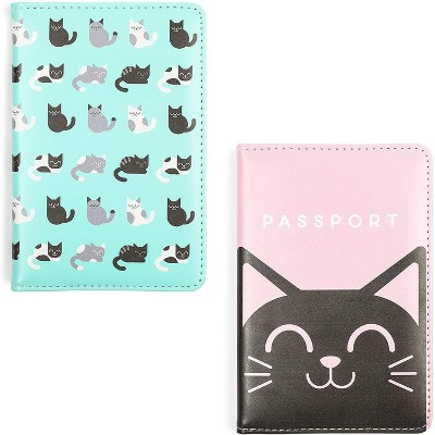 Zodaca 2 Pack Cat Passport Cover for Kids, Travel Wallets with Card Slots (5.87 x 4 in)