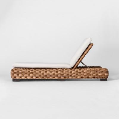 Eldridge Wicker Patio Chaise Lounge with Sunbrella Cushions - Brown/White - Smith & Hawken™