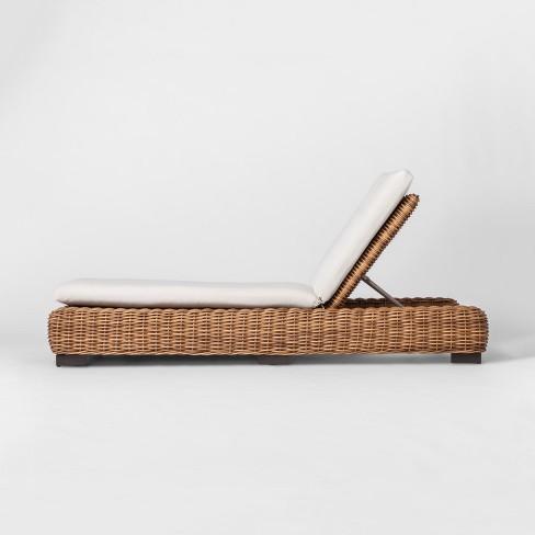 Eldridge Wicker Patio Chaise Lounge with Sunbrella Cushions - Brown/White - Smith & Hawken™ - image 1 of 4