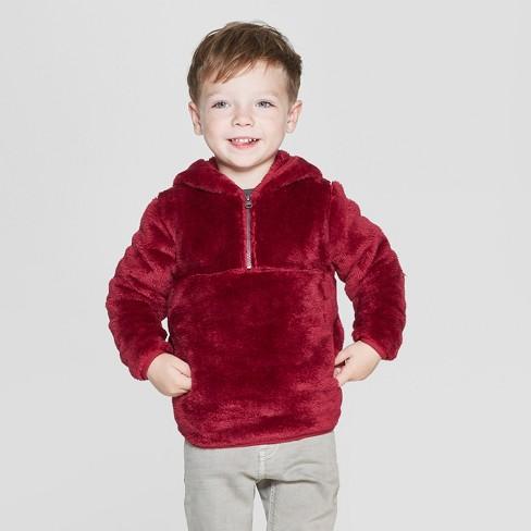 Toddler Boys' Teddy Bear Fleece Hoodie - Cat & Jack™ Red 12M - image 1 of 3
