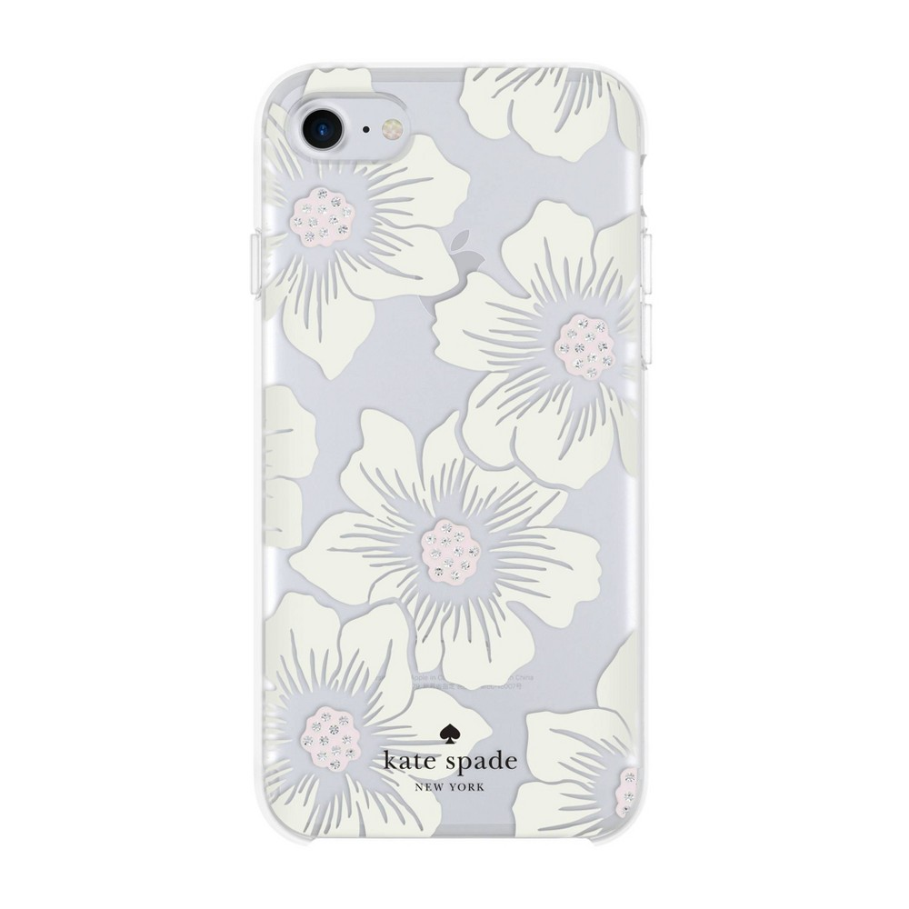 Kate Spade New York Apple Iphone Se 2nd Gen 8 7 6s 6 Hard Shell Case Hollyhock Floral Cream Clear