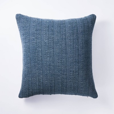 Oversized Square Woven Textured Cotton Pillow Navy - Threshold™ designed with Studio McGee