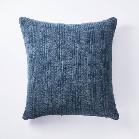 Oversized Woven Textured Cotton Square Throw Pillow Navy - Threshold™ designed w/ Studio McGee - image 1 of 4