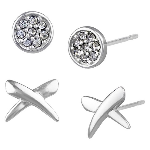 Women's Button Earrings Two Pairs Sterling Silver Criss Cross and Pave Crystal Disc - Silver/Clear - image 1 of 1
