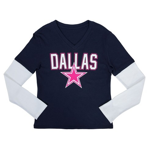 Dallas Cowboys Girls Long Sleeve Layered T-Shirt XS - image 1 of 1