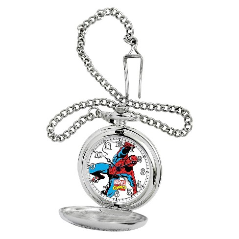Men's Marvel Spider-Man Silver Pocket Watch - Silver - image 1 of 2