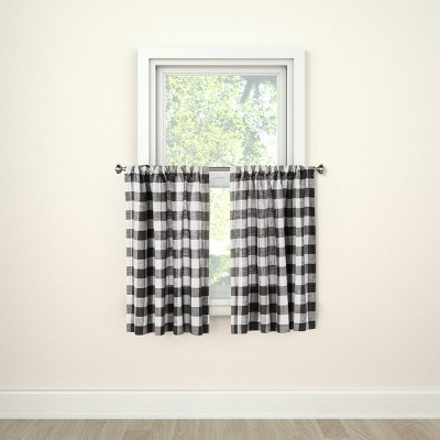 "36""x42"" Curtain Tier Small Check Gray - Threshold™"