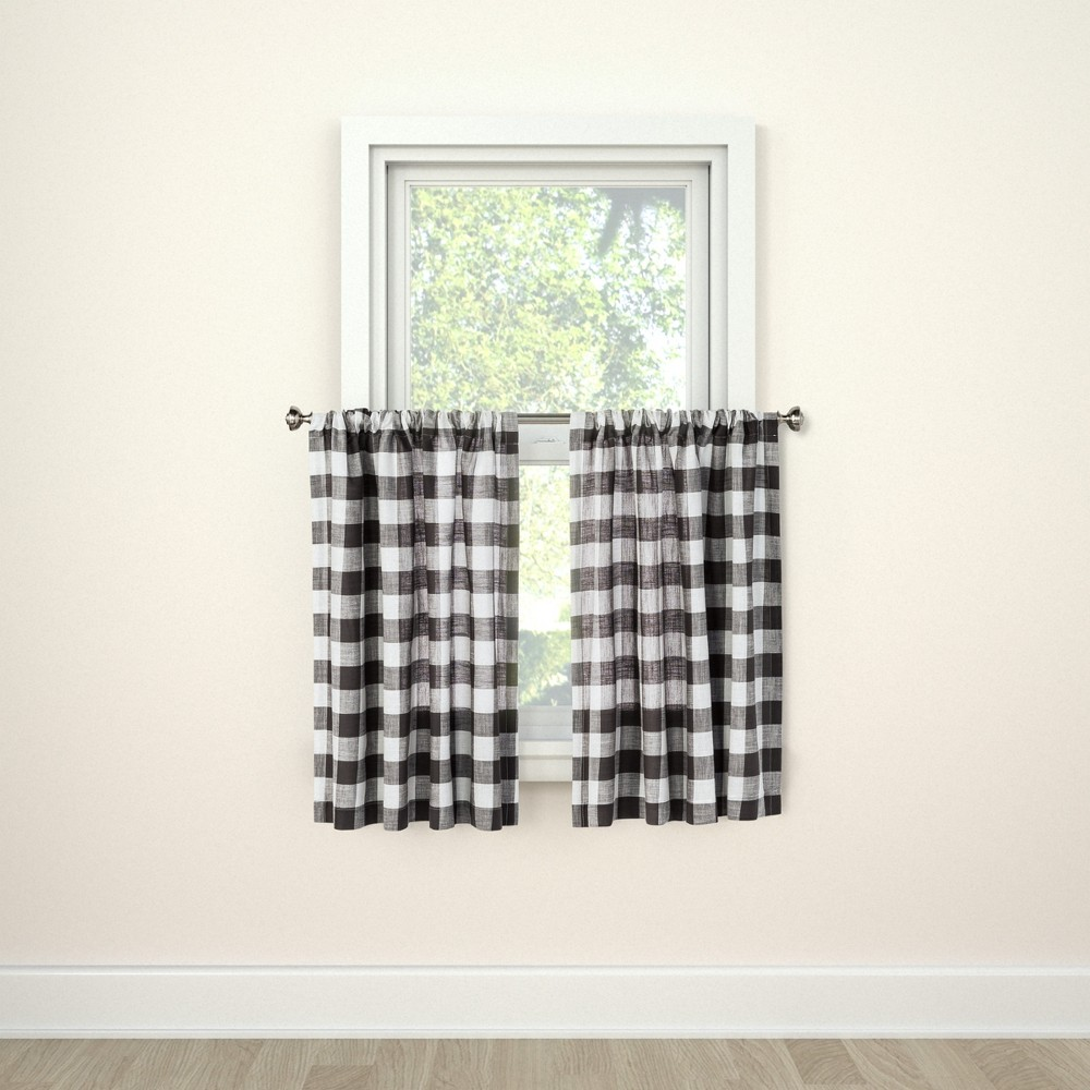 """Image of """"Curtain Tier Small Check Gray 42"""""""" x 36"""""""" - Threshold"""""""