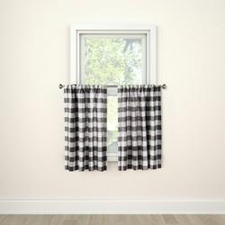 "36""x42"" Curtain Tier Small Check Gray - Threshold™"