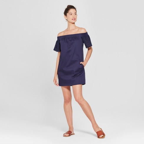 65a9f12b1346 Women s Off the Shoulder Eyelet Sleeve Dress - Lots of Love by Speechless ( Juniors ) Navy