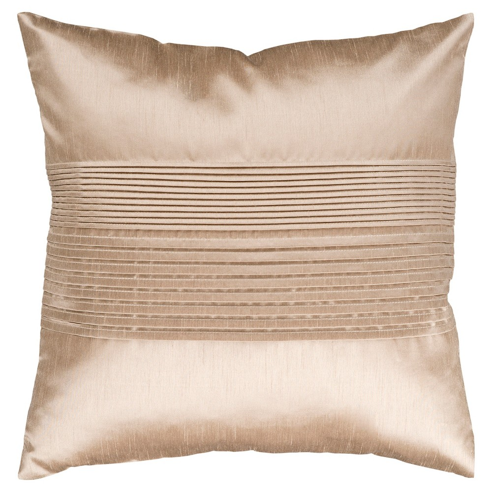 Beige Pleated Throw Pillow 22