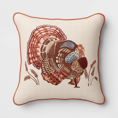 Square Embroidered TurkeyThrow Pillow - Threshold™