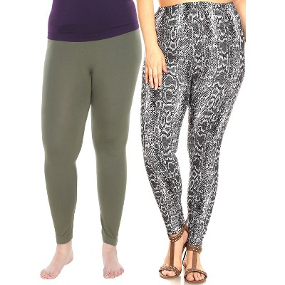Women's Pack of 2 Plus Size Leggings - One Size Fits Most Plus - White Mark