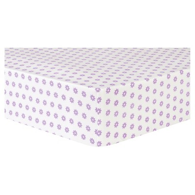 Trend Lab Deluxe Flannel Fitted Crib Sheet - Lilac Flower Dot