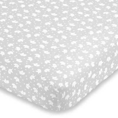 NoJo Super Soft Gray and White Elephant Fitted Crib Sheet