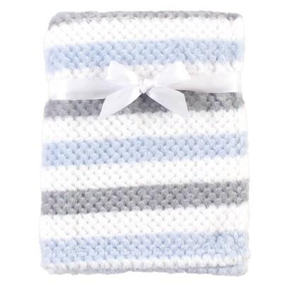Hudson Baby Unisex Baby Plush Waffle Blanket - Blue/Gray Stripe One Size