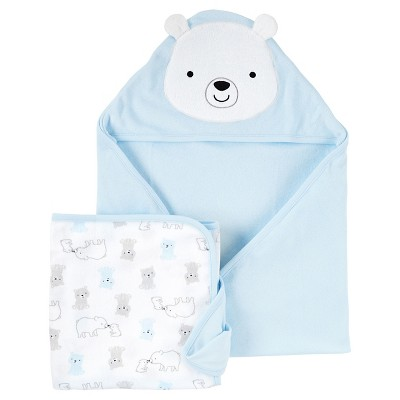 Baby Boys' 2pk Bear Towels - Just One You™ Made by Carter's® Blue