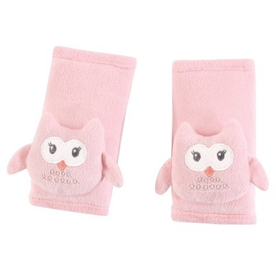 Hudson Baby Infant Girl Cushioned Strap Covers, Pink Owl, One Size