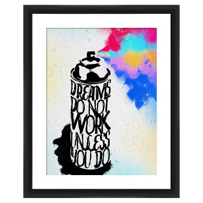 """18"""" x 22"""" Matted to 2"""" Dreams Do Not Work Unless You Do Picture Framed Black - PTM Images"""