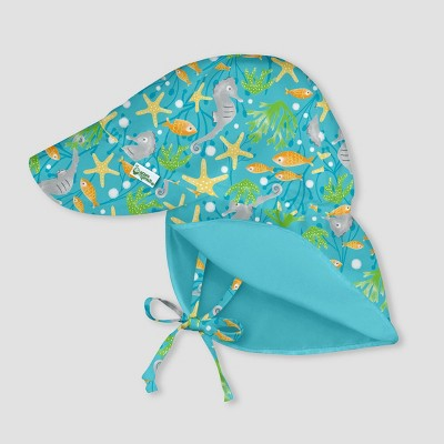 i play by green sprouts Baby Boys' Reversible Flap Hat - Seahorse Light Aqua 0-6M