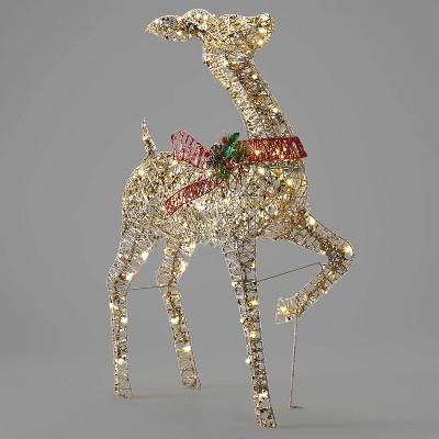 39in Rattan-Look Doe Christmas UL LED Novelty Sculpture - Wondershop™