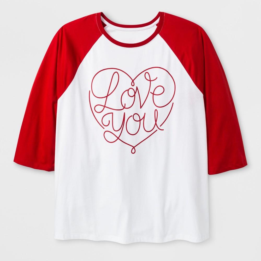 Women's Plus Size 3/4 Sleeve 'Love You' Baseball T-Shirt - White 1X