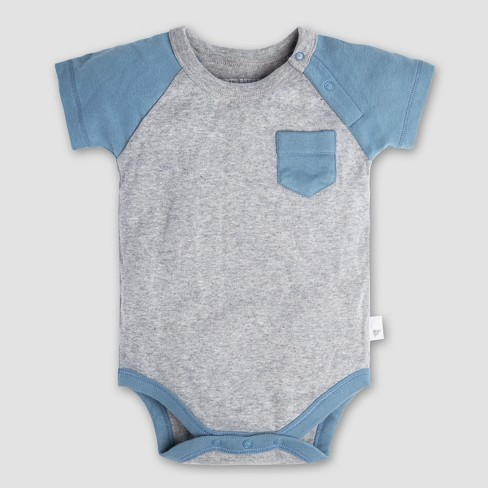 3af7a12ae1 Burt s Bees Baby Boys  Organic Cotton Raglan Pocket Bodysuit and Pants Set  - Blue