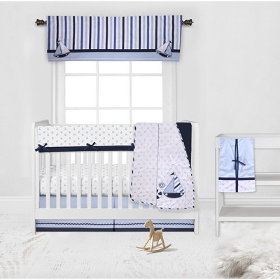 Bacati - Little Sailor Anchor Boat Blue Navy 6 pc Crib Bedding Set with Long Rail Guard Cover