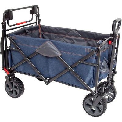Mac Sports Collapsible Folding Heavy Duty Push Pull Utility Cart Wagon with 2 Adjustable Handles and Extra Large Wheels, Holds Up to 300 Pounds, Blue