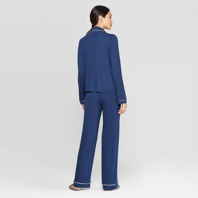 Women's Beautifully Soft Notch Collar Pant Pajama Set - Stars Above™ Navy L