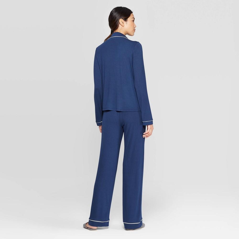 Image of Women's Beautifully Soft Notch Collar Pant Pajama Set - Stars Above Navy L, Women's, Size: Large, Blue