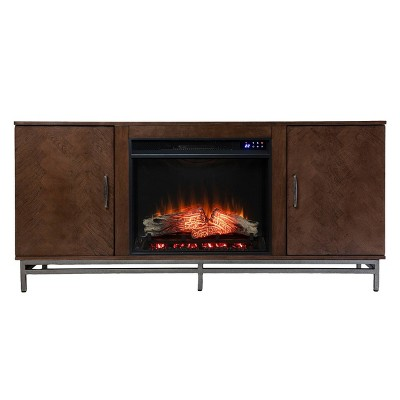 Retim Touch Panel Fireplace with Media Storage Brown/Silver - Aiden Lane