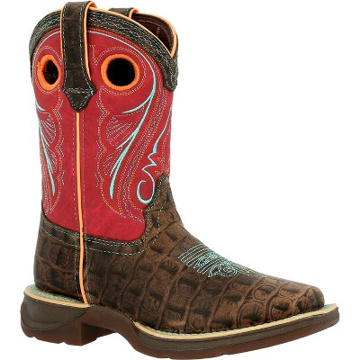 Lil' Rebel by Durango Kids Gator Emboss Red Western Boot