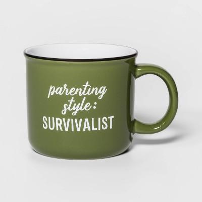 15oz Stoneware Parenting Survivalist Camper Mug Green - Threshold™
