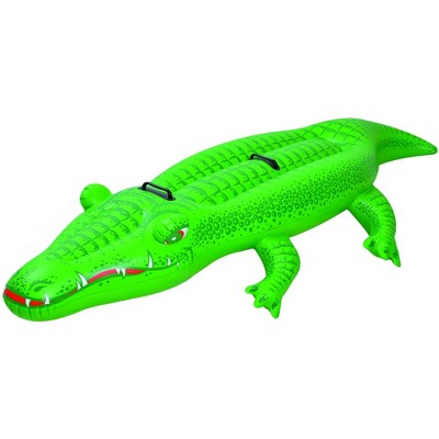 Pool Central 7' Inflatable Green Alligator Rider Swimming Pool Float