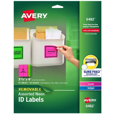 Avery 06482, High Visibility Laser Labels, 3 1/3 x 4, Assorted Neon, 72/Pack