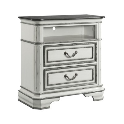 Caroline 2 Drawer Media Chest with Media Compartment White - Picket House Furnishings
