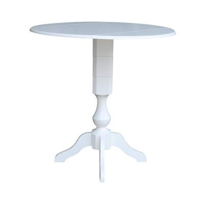 "42"" Matt Round Dual Drop Leaf Pedestal Table White - International Concepts"