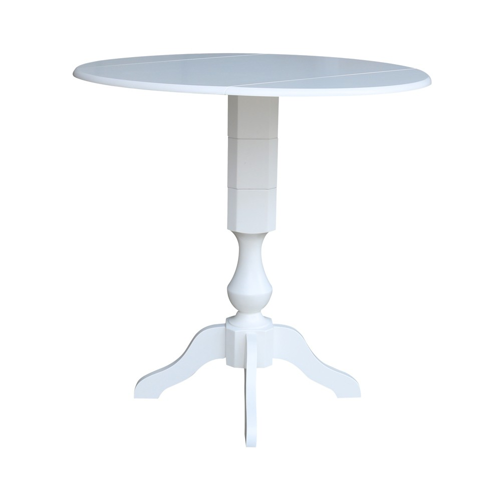42 Matt Round Dual Drop Leaf Pedestal Table White - International Concepts was $519.99 now $389.99 (25.0% off)